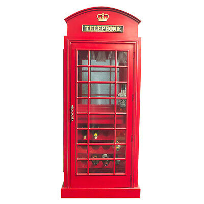 """Red British Phone Booth Wood Wine Bar Cabinet Old Cast Iron Looking England 72"""""""