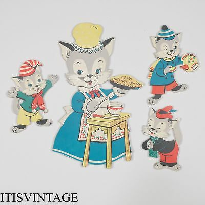 Vintage Nursery Decor Dolly Toy Co Three Little Kittens 3 Mother Goose Baby Cats