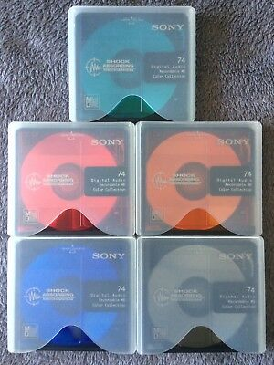 5 Blank Recordable Sony Minidisc Color 74min New Vierge comme neuf