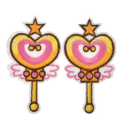 2 Pc Sailor Moon Time Key Wand Patches Embroidered Iron On  Applique Badge Anime