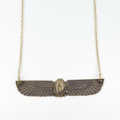 Jan Michaels Antique Brass Egyptian Open Wing Scarab Pendant Necklace Unique