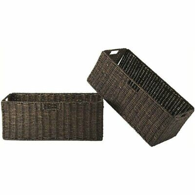 Pemberly Row Large Foldable Basket in Chocolate (Set of 2)