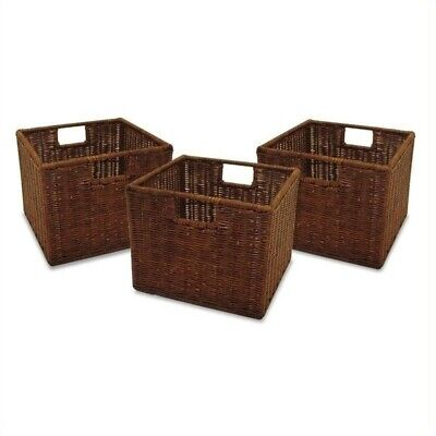 Pemberly Row Small Wired Baskets in Antique Walnut (Set of 3)