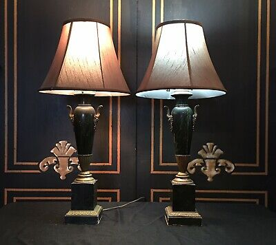 Antique Marbleized Lamps French Neoclassical Pair