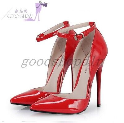 Sexy Womens Shiny Patent Leather Pointed Toe Ankle Strap High Heels Shoes US5-11