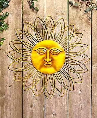 METAL SUN WALL Art Face Circle Unique Vintage Sunburst Decor Indoor ...