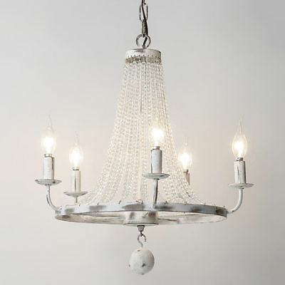 Rustic Vintage Candle-Shaped Light Pendant Crystal Bead Strand Chandelier Lights