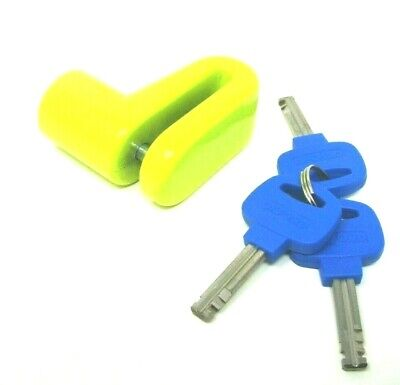 Oxford Junior 6Mm Disc Lock Yellow Scooter Motorcycle Vespa Px Lml Free Cable