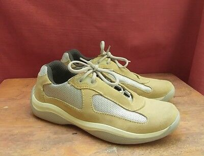 433b3a43e77 Women s Prada Americas Cup Trainers Beige  Silver Shoes Sneakers Size 38 US  7.5