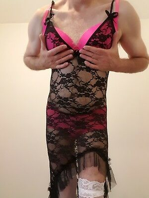 Cd/Fetish/Gay slutty black lace dress