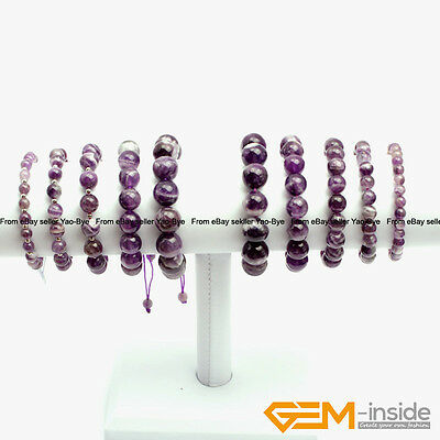 """Handmade Natural Stone Dream Lace Amethyst Beaded Stretchy Bracelet Gift 7 1/2"""""""