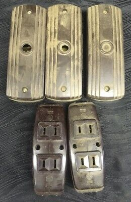 Vtg Lot Leviton Brown Bakelite Surface Mount Duplex Outlet Receptacles Rosettes