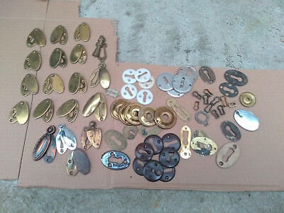 Large selection of keyhole covers & other door fixtures, some brass, vintage.