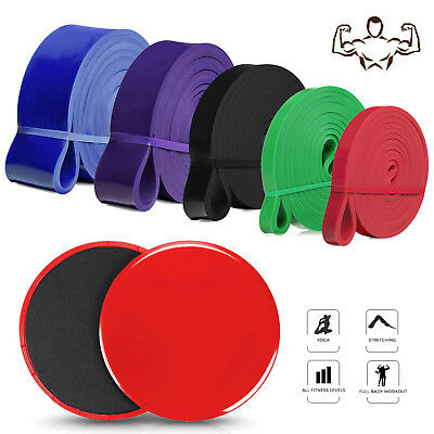 Set of 5 Resistance Bands Loops & 2X Gliding Discs Core Slider Full Body Workout