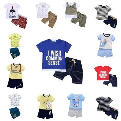Kids Baby Boys Summer Outfits Short Sleeve T-shirt Tops+Short Pants Clothes Set