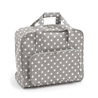 Grey Linen Polka Dot PVC Matt Fabric Sewing Machine Bag - Hobbygift MR4660443