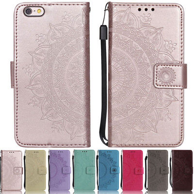 Mandala Wallet Leather Flip Case Cover For iPhone SE 5S 5C 6 6S Plus 7 8 Plus X