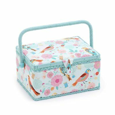 Birdsong Print Medium Rectangular Sewing Box Basket - Hobby Gift MRM/275