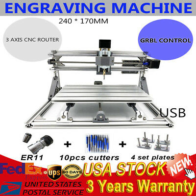 Mini DIY CNC 24x17cm Router Kit USB Desktop Metal Engraver PCB Milling Machine