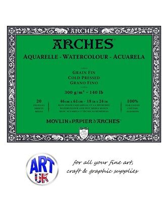 ARCHES 46 x 61cm 300gsm/140lb Cold Pressed Artists Watercolour 20 Sheet BLOCK