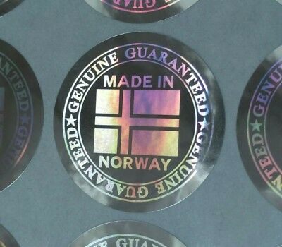 """Hologram Labels Sticker Warranty Void If Removed Tamper Proof """"Made in Norway"""""""