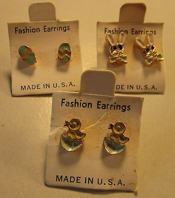 3 Pairs Vintage 60's Easter Egg Bunny Chick Enamel Pierced Earring Lot