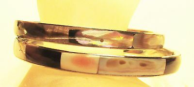 2 Vintage 60's Mother of Pearl Bead Inlaid Bangle Bracelet Lot