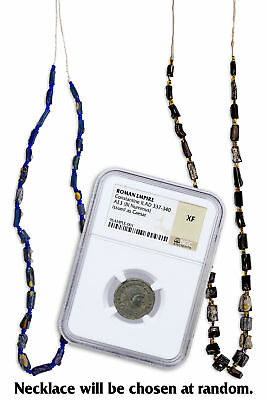 Roman Empire, Random Billon Nummus W/Ancient Roman Glass Beads NGC XF SKU53272
