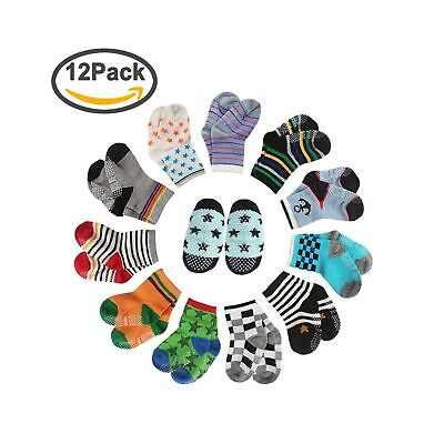 CIEHER 12 Pairs Baby Socks Non-Skid Ankle Cotton Socks with Grip for 9-36 Mon...