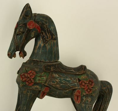 18-Inch Hand Carved and Painted Wooden Rocking Horse Christmas Figure