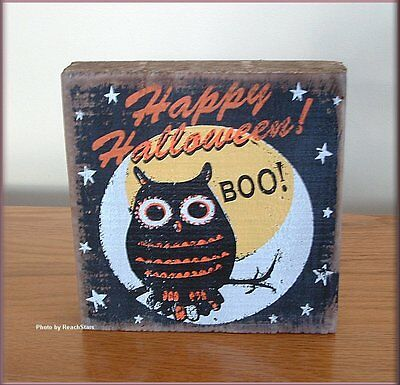 Happy Halloween Owl Wall Art Six Inches Square Free U.s. Shipping