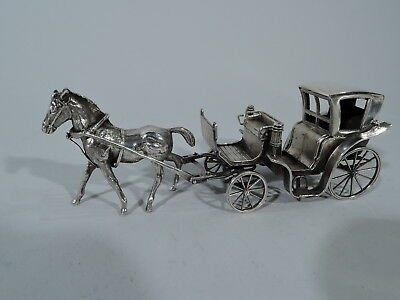 Antique Carriage - Miniature Novelty Brougham Coach - Italian Sterling Silver