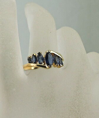 Vintage Gold Plated Marquise Cut Band Ring,sapphire Blue Rhinestone Size 7