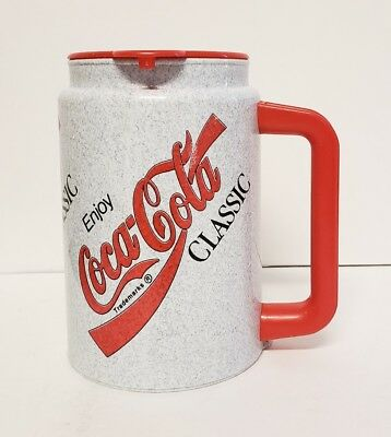 Authentic Coca-Cola Coke Classic Enjoy Big Mug w/ Lid Red & Gray by Whirley RARE