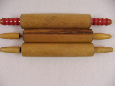 Lot Of 3 Vintage Wooden Rolling Pins