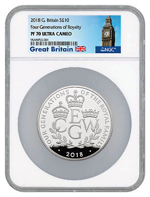 2018 Britain Four Generations of Royalty 5 oz Silver £10 NGC PF70 UC SKU52411