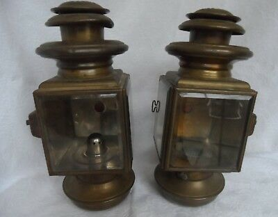 Antique Car Side Lamps Maxwell # 10 Pair Brass Beveled Glass with Jewel Beauty !