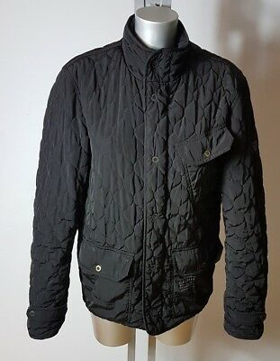 Firetrap Men's Black Quilted Barbour Style Jacket Coat Size M Uk 38""