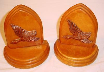 Vintage Art Deco Flying Ducks Hardwood Maple Weighted Bookends Library Decor