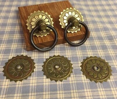 Architectural Salvage Antique Drawer Hardware 5 Brass Plates And 2 Metal Rings