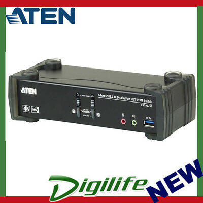 ATEN CS1922M 2-Port USB 3.0 4K DisplayPort MST KVMP Switch (Cables included)