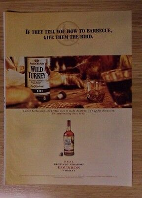 2007 Print Ad Wild Turkey Bourbon Whiskey ~ Barbecue Advice, Give them the Bird