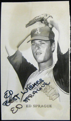 Ed Sprague SIGNED/AUTO 1968 Promo Postcard Oakland A's Athletics Baseball VTG
