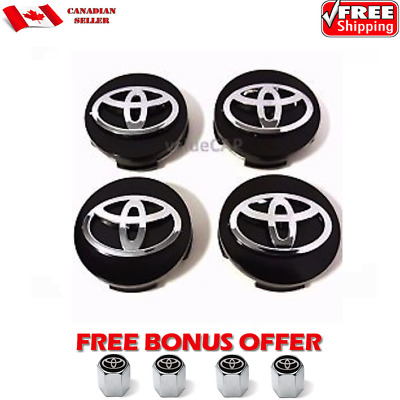 TOYOTA WHEEL CENTER CAPS 4pc SET, BLACK BASE CHROME LOGO RIM HUB 62MM EMBLEM L