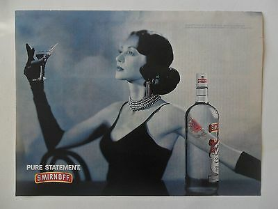 1995 Print Ad Smirnoff Vodka ~ Pure Statement Classy Woman w/ Rose Tattoo