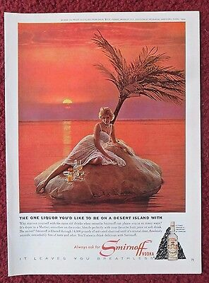 1964 Print Ad Smirnoff Vodka ~ Pretty Blonde Girl Marooned on a Desert Island
