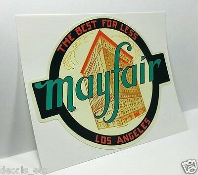 Mayfair Los Angeles Vintage Style Travel Decal, Vinyl Sticker, Luggage Label