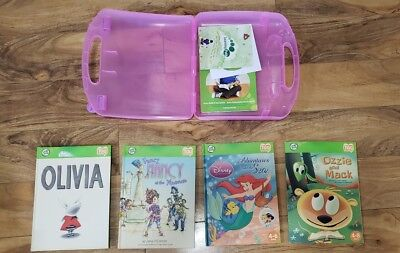 Leap Frog LOT of 4 Tag Reader Interactive Books with hard to find PINK Hard Case