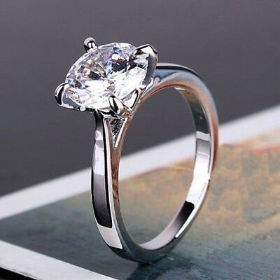 3 Ct Round Near White Real Moissanite Solitaire 14k White Gold Engagement Ring