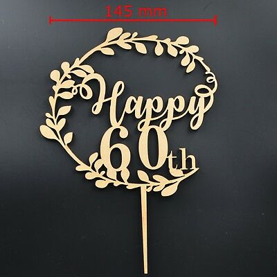 Happy 60th Birthday 60 Sixty Cake Topper Wooden Party Decoration